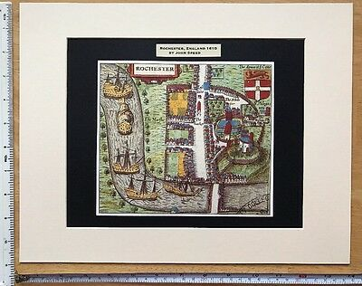 "Mounted Old Tudor town plan, map Rochester, UK: Speed 1600's 14 x 11"" Reprint"
