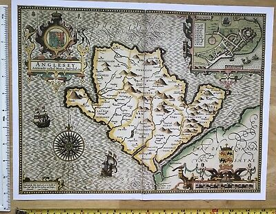 "Old Antique Tudor map of Anglesey, Wales: John Speed 1600's 15"" x 11"" (Reprint)"
