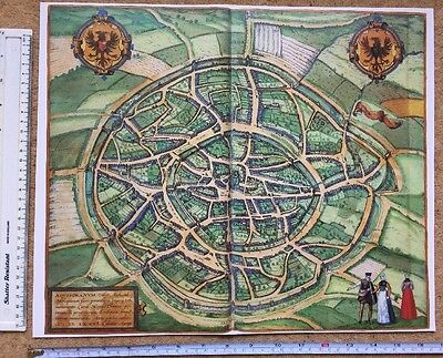Old Antique Historical Map Aachen, Germany 1576 Braun & Hogenberg REPRINT 1500's