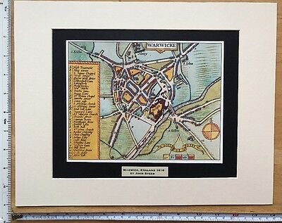 "Mounted Old Tudor town plan, map Warwick, England: Speed 1600's 14 x 11"" Reprint"