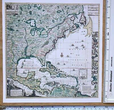 """Antique vintage old colour map Eastern America 1700's, 1733: 9 X 9"""" Reprint"""