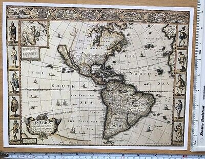 """Antique vintage old colour map America 1600's, 1627: 12 X 9"""" Reprint: Speed"""