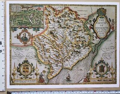 "Old Tudor map of Monmouthshire, Wales: John Speed 1600's 15 x 11"" (Reprint)"