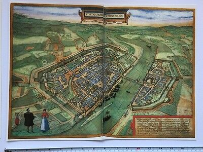 Old Antique Map of Frankfurt, Germany: 1552 by Braun & Hogenberg REPRINT 1500's