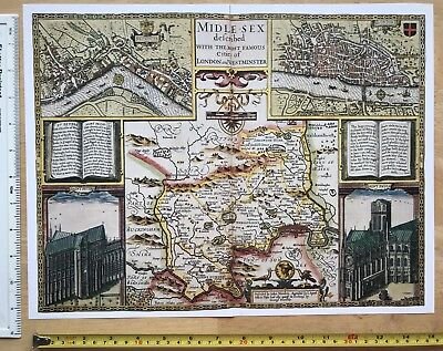 "Old Tudor map of Middlesex inc London: John Speed 1600's 15"" x 11 (Reprint)"