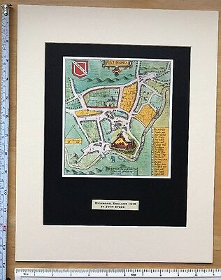 "Mounted Old Tudor town plan map Richmond, England: Speed 1600's 14 x 11"" Reprint"