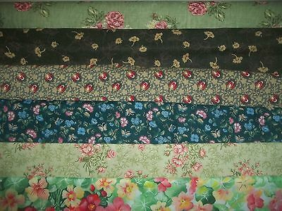 FLOWERS on GREEN (#2) floral SPRING BTY Cotton QUILT Fabric U-PICK READ for info