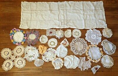 Lot Of Vintage Handmade Lace Crocheted Doilies Crafts Sewing Cutting