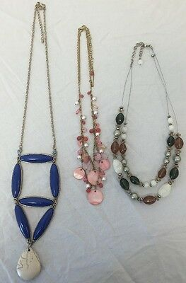 Assorted 3 Piece Lot Vintage Multicolored Beaded Craft Costume Jewelry Necklaces