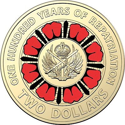 1 X UNC 2019 A Hundred Years Of repatriation Multi Colour $2 Coin