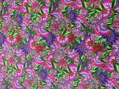 Hibiscus Flower Print Fabric 100/% Clothworks Cotton Fat Quarter 50 x 56cm