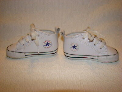 d1b7d4a9e86d CONVERSE All Star Baby Size 3 White Leather Crib Shoes Lace Up Infant  Unisex EUC