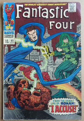 FANTASTIC FOUR #65, SILVER AGE CLASSIC with 1st 'RONAN THE ACCUSER', 1967.