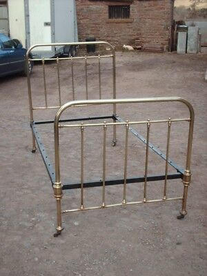 """Antique Victorian Brass And Iron Large Single Bed 3' 6"""""""