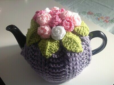 HAND KNITTED TEA COSY - Spring Roses