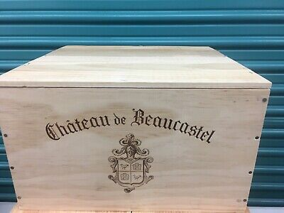 Wine Box Case Wooden Crate Holds 6/1500ml Magnum Chateau Beaucastel Lid, Inserts