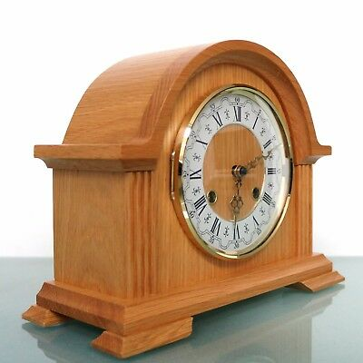 GERMAN Vintage HERMLE Mantel Clock SERVICED 3 Bar Chime! BLOND Wood! Mid Century