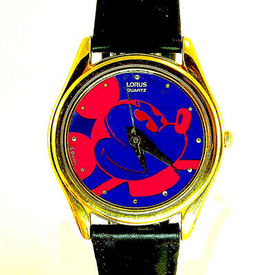 Mickey Seiko Lorus Gold Case Watch, Red/Blue Dial, Pyramid Cut Glass Crystal $99