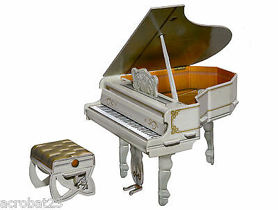 Furniture for Dolls GRAND PIANO WHITE Dollhouse Miniature Scale 1:12 Model Kit
