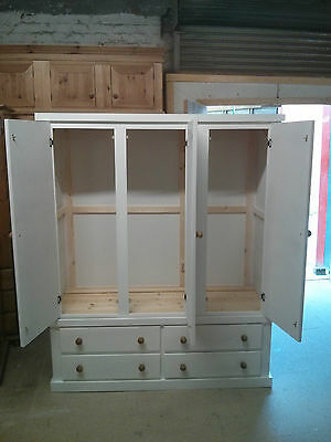 Handmade Derwent Gents Triple 4 Drawer Wardrobe Cream With Antique Pine Handles