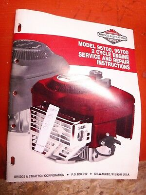 Up To 1988 Briggs & Stratton Model 95700 96700 2 Cycle Engine Service Manual