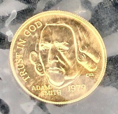 Rare 1979 ADAM SMITH 1/10th Ounce Pure Gold Coin* FINE BEAUTY* Says TRUST IN GOD