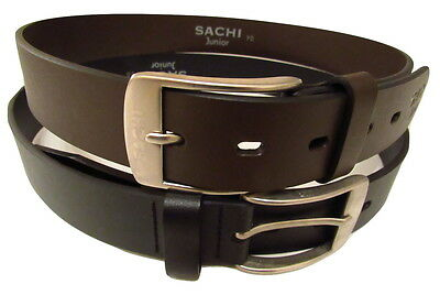 Boys Black or Brown Leather Belt With Polished Metal Buckle & Strong Leather