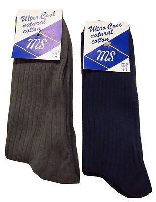 4 MS Pairs plain ribbed  socks adults cotton rich 4-7 white black grey blue