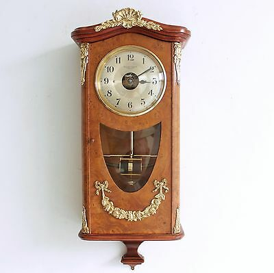 French BULLE ANTIQUE Wall CLOCK Specialty! BRONZE FEATURES! Wood ELECTROMAGNETIC