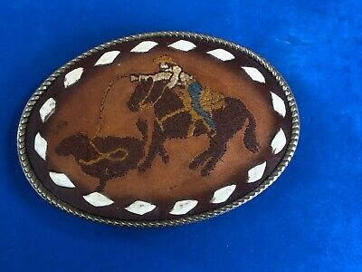 vintage Stitched mixed leather belt buckle - cowboy on horse roping steer cow