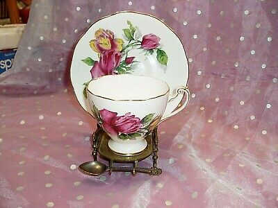 """""""ROSLYN FINE BONE CHINA TEACUP AND MATCHING SAUCER"""", Pattern Shadow Rose, #9177"""