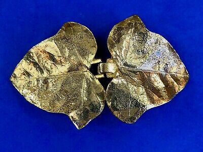 Vintage Signed Mimi Di N Gold tone Leaf's Leaves Figural two piece belt buckle