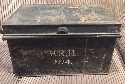 VERY RARE ANTIQUE RUSTIC TRAVEL METAL CHEST/TRUNK/BOX STAMP H.R.H. № 4 Royal