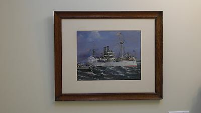 REDUCED!!!  Watercolor & Gouache Painting of a Steamship with US Flags