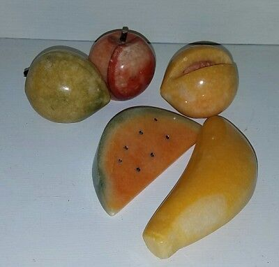5 Vintage Alabaster Stone Fruit Marble Banana Peach Watermelon Apple