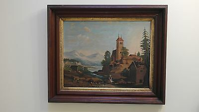 REDUCED!!!  19th Century Oil on Board Landscape in Period Walnut Frame