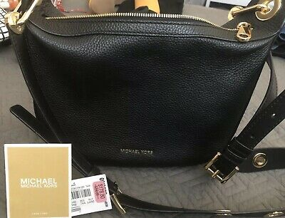 5d7e24d685a0 Michael Kors Barlow Medium Crossbody Messenger Pebbled Leather Black NWT