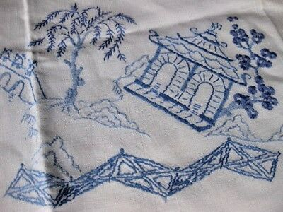 Vintage Hand Embroidered Table Cloth - Stunning  Blue And White Willow  Pattern