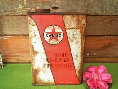 VINTAGE CALTEX OIL CAN TIN 1 GALLON WOOD PRESERVING CONCENTRATE AUSTRALIAseeMORE