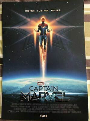 CAPTAIN MARVEL Poster A4 Higher Further Faster - Official Odeon MCU Movie Film