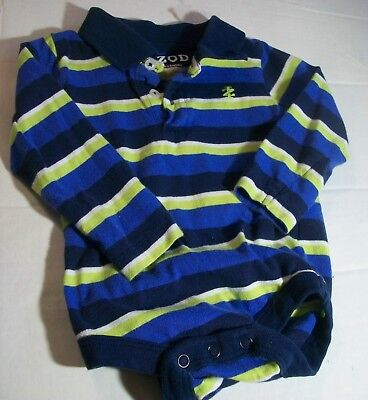 12 month Baby long sleeve Body suit Stripe cotton IZOD button front snaps Boys