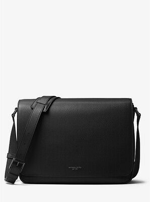 11951ef2d954 Authentic NEW $448 Michael Kors Mens Bryant Large Black Leather Messenger  Bag