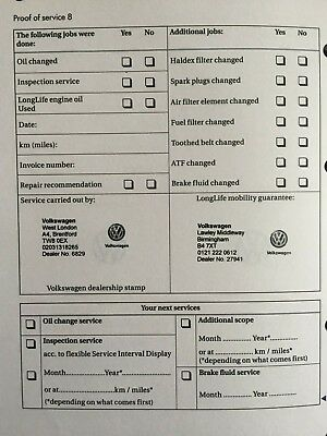 VOLKSWAGEN SERVICE BOOK (Stamped) Brand New & Genuine Choose How Many  Stamps ***