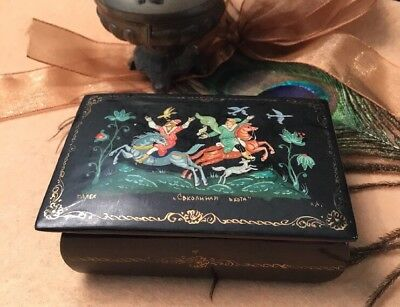 Vintage Collectable Russian Folk Lore Black Lacquer Painted Signed Trinket Box