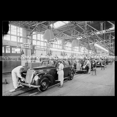 #pha.002703 Photo MERCEDES-BENZ 220 (W187) ASSEMBLY LINE 1951 Car Auto