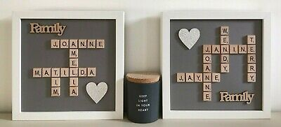 (a) Scrabble Art Picture Frame Personalised - Grey Background