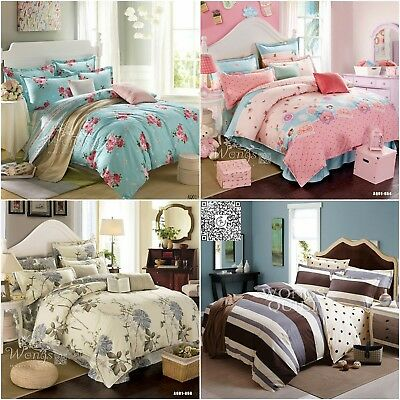 Floral Quilt Duvet Doona Cover Set Single/Double/Queen/King Size Bed Pillowcases