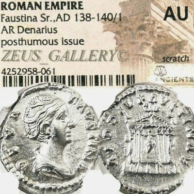 FAUSTINA I / Temple NGC Certified AU Ancient Roman Empire Silver Denarius Coin
