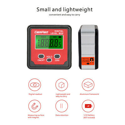 GemRed Mini LCD Level Box Angle Gauge Digital Finder Inclinometer Magnetic Base