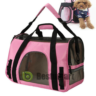 Pet Carrier Sided Large Cat / Dog Comfort Travel Tote Bag Airline Approved Pink